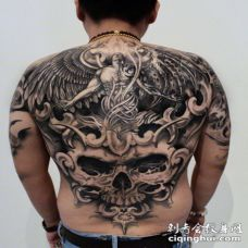 天使骷髅纹身图片 美女骷髅天使艺术纹身