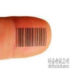 手指上黑色简约结合线条条形码电子纹身图片