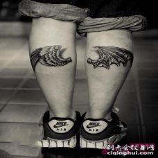 天使小腿纹身图片 小腿上被捆绑的天使纹身图集
