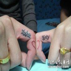 手指英文字母纹身图案 手指头上漂亮的英文荧光字母纹身