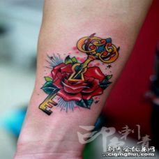 手臂唯美时尚的钥匙纹身图案
