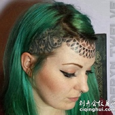 欧美风头部经典梵花纹身图案