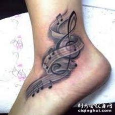 脚踝纹身音符 脚踝音符纹身图片