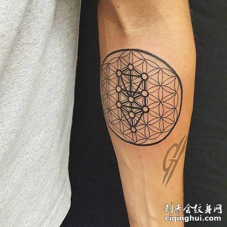 手臂多种形状的线条灵花纹身