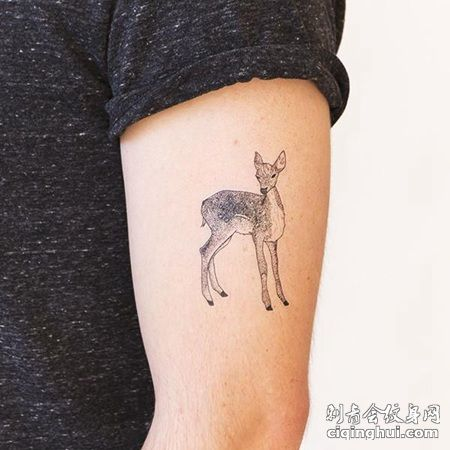 胳膊上可爱的小鹿纹身图案