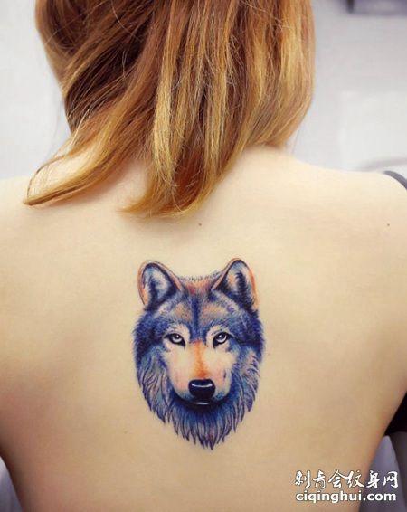 美背彩色的3D帅气狼头纹身图片