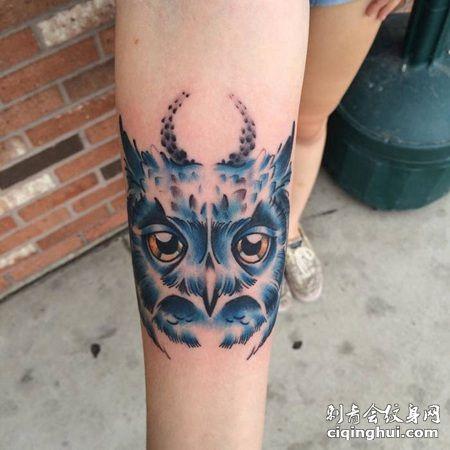 手臂蓝色猫头鹰纹身图片