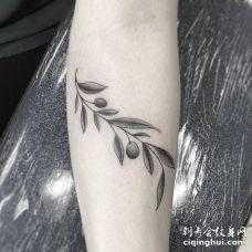 非常好看的黑色和灰色橄榄枝纹身图案