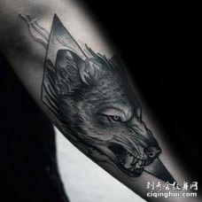 手臂龇牙咧嘴的怒视黑色狼头和三角形纹身图案