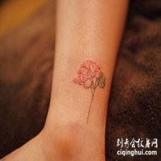 小腿处一枝漂亮的粉红色绣球花纹身图案