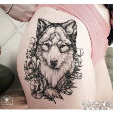 美女跨部黑白色狼头和花纹身图片