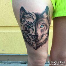 美女大腿创意3D两面狼纹身图案