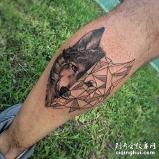 两面狼小腿创意3D黑色纹身图案