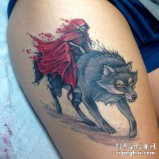 邪恶的女巫骑着狼3D纹身图案