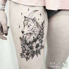 性感美女大腿黑色狼星星月亮花朵纹身图案
