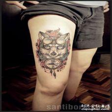 头上戴着旅行眼睛_脖子戴着钟表的个性狼纹身图案