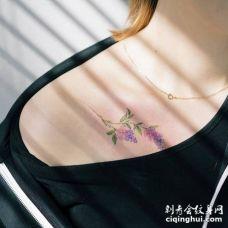 唯美的丁香花锁骨在美女纹身上