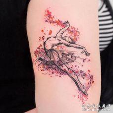 胳膊外侧唯美系列跳芭蕾舞的女孩纹身