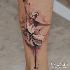 腿部水彩3D女孩正在跳芭蕾舞