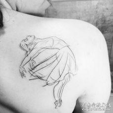 后肩素描线条芭蕾舞美女纹身图片