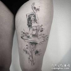 美女大腿素描女孩跳芭蕾舞纹身图案