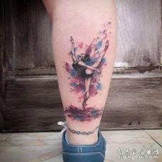 小腿水彩系列的跳芭蕾舞美女纹身图片