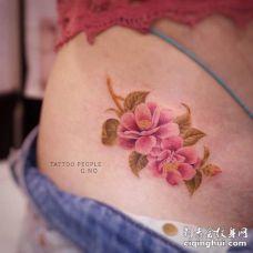 漂亮的3D粉丝茶花和黄色叶子腰部纹身图案