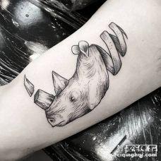 脖子似卷起来的飘带的创意犀牛黑白纹身图片