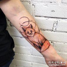 手臂内侧素描水彩风格的狐狸纹身图片