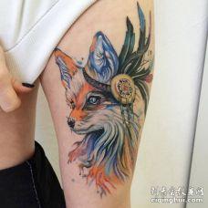 美国原住民风格的狐狸纹身图片
