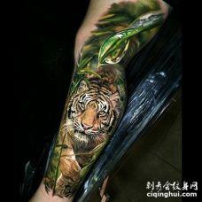 在草丛奔跑着的黄白黑3D逼真老虎纹身图案