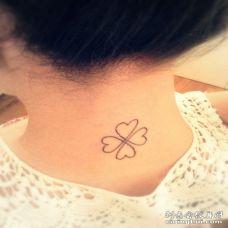 唯美的美女脖子心形四叶草纹身图案