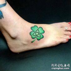 多款四叶草脚背纹身图案