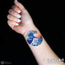 手腕处美丽的蓝色海浪纹身图片