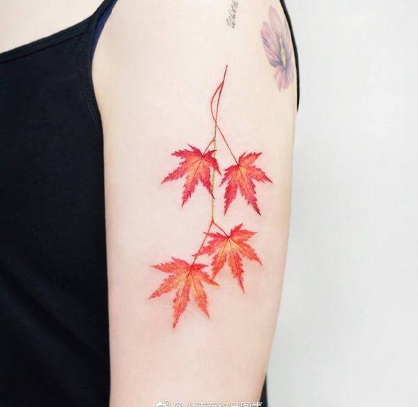 大臂小清新红色枫叶纹身图案