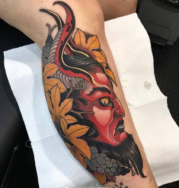 小腿newschool枫叶撒旦纹身图案