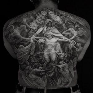 满背传统黑灰风耶稣人物纹身图案