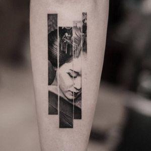 手臂点刺风艺伎人物写实风纹身图案