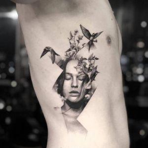 腰侧点刺风燕子人物写实风纹身图案