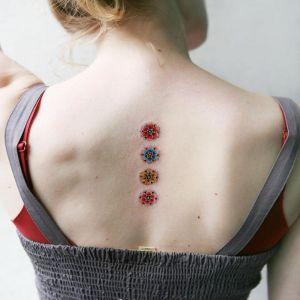背部小清新花纹身图案