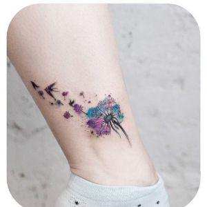 脚踝小清新花纹身图案