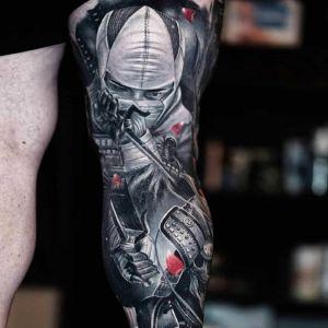 花腿传统写实风纹身图案