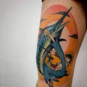 大腿传统海豚纹身图案