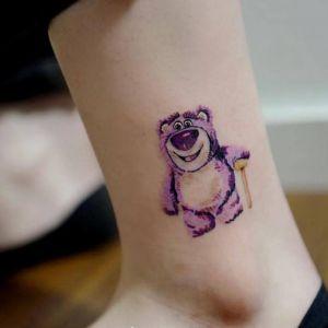 脚踝小清新熊纹身图案