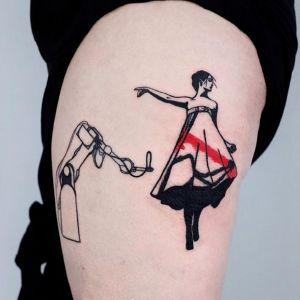 大腿小清新人物纹身图案