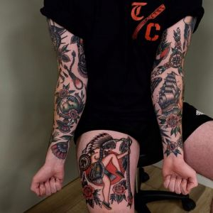 花臂大腿oldschool地球仪帆船指南针花人物纹身图案
