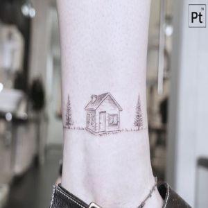 脚踝小清新黑灰风纹身图案