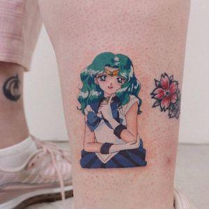 小腿小清新美少女纹身图案