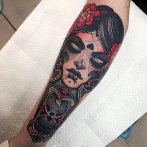 小腿newschool美女人物骷髅花纹身图案