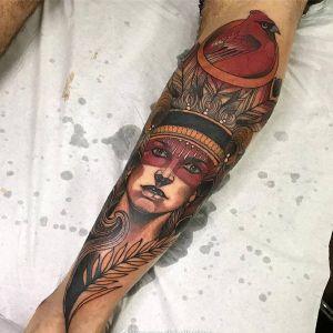 小腿newschool鸟印第安人羽毛美女人物纹身图案